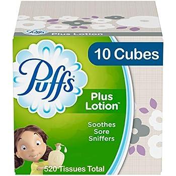 Puffs Plus Lotion Facial Tissues, 10 Cube Boxes, 52 tissues per Cube
