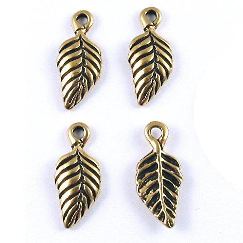Tierracast Drops Charms - TierraCast Pewter Charm Drops-Gold Birch Leaf (4 Pieces)