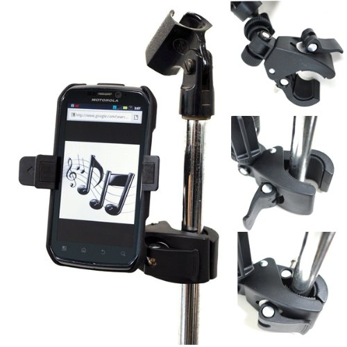 (ChargerCity Music Mic Microphone Stand Smartphone Clamp Mount with 360° Swivel Holder for Apple iPhone XR XS MAX X 8 7 Plus Samsung Galaxy S8 S9 S10 Note Moto Droid)