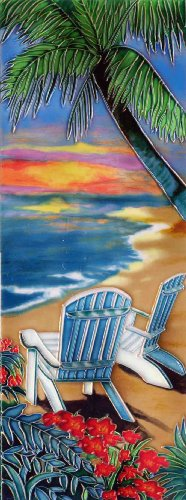 Continental Art Center KD-051 6 by 16-Inch Palm with Chairs on a Beach Ceramic Art Tile