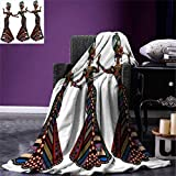 African Woman,Survival Blanket,Young Women in Stylish Native Costumes Carnival Festival Theme Dance Moves,Print,Multicolor,Size:50''x30''