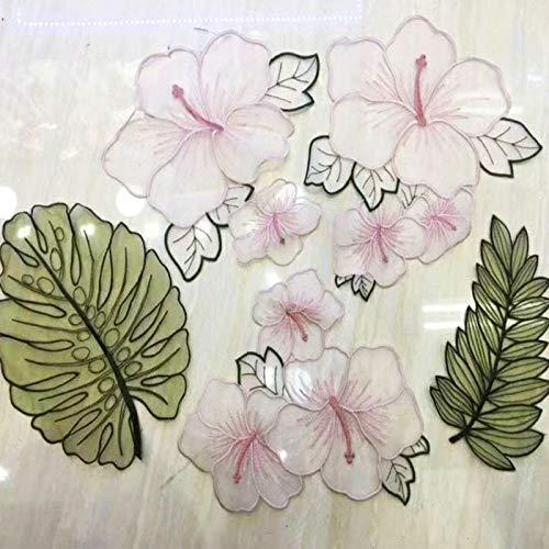 Hosaire Set-5X Pegatina de Tela Flor Hojas Rosado Pa/ño de Tela decoraci/ón DIY Parches Bordado para Las Mujeres ni/ños su/éteres Jeans Ropa