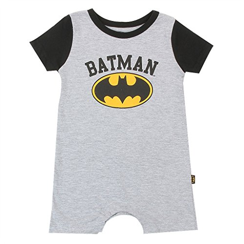 (Batman DC Comics Baby Boys Romper, Heather,)