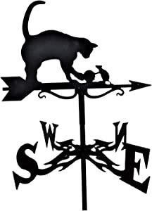 FAKEME Cast Iron Weather Vane Roof Mount Wind Direction Indicator Tool Outdoor Farm Scene Garden Stake Weather Vane - Cat and Rat