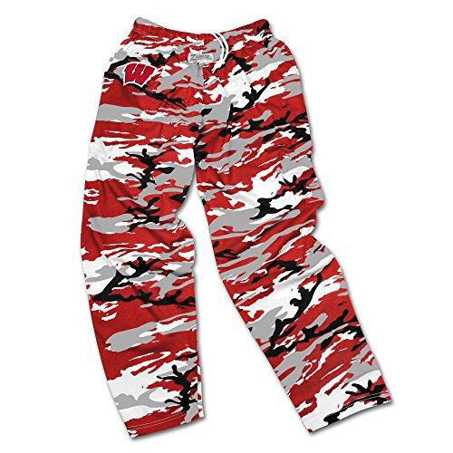 NCAA Wisconsin Badgers Men's Zubaz Camo Print Team Logo Casual Active Pants, XX-Large, Red/Gray/Black (Badgers Wisconsin Camo)