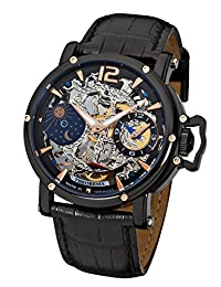 """Theorema - high quality mechanical wrist watch Copacabana """"All Black Leather"""" stainless steel with leather strap, two year warranty - 17 Jewels - Made in Germany"""