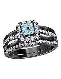 Forever Collection 2.00 CT Princess Cut Created Aquamarine 14k Black Gold Rhodium Plated Alloy Split Shank Halo Style Wedding Band Engagement Bridal Ring Set Size 4-12