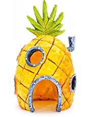 """Penn-Plax Officially Licensed Nickelodeon Spongebob Aquarium Ornament – Spongebob's Pineapple House - Perfect for Fish to Swim in and Around - Full Color 6"""" Decoration"""