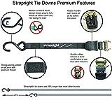 Strapright 4 Ratchet Tie Down Straps 20Ft | Adjustable Locking Mechanism, Heavy Duty Polyester & Ergonomic S Hook | For Cargo Shipping, Trucks, Furniture, Appliances, Bikes & More | Bonus Storage Bag