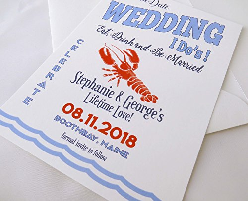 Lobster Save the Date - I'Do's, Custom, Wedding, Coastal, Beach, Nautical, Announcement, Save the Date, Announcement with Envelopes,