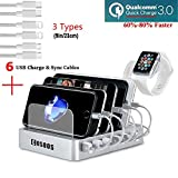 COSOOS Fastest Charging Station with Quick Charge QC 3.0, 6 Phone Charger Cables(3 Type),lWatch Stand,6-Port USB Charger Station,Charging Station for Multiple Devices,Tablet,Kindle(White,UL Certified)