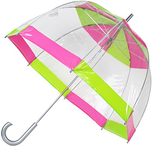 Totes Clear Bubble Umbrella (One Size, Pink/Green)
