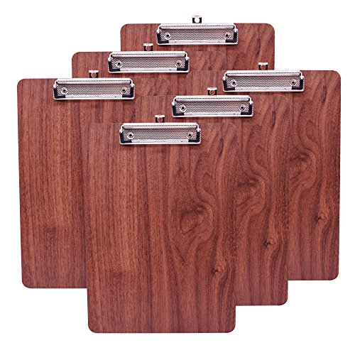 Kobest Wooden Clipboard Standard A4 Letter Size Low Profile Clip (brown) (Pack of 6)