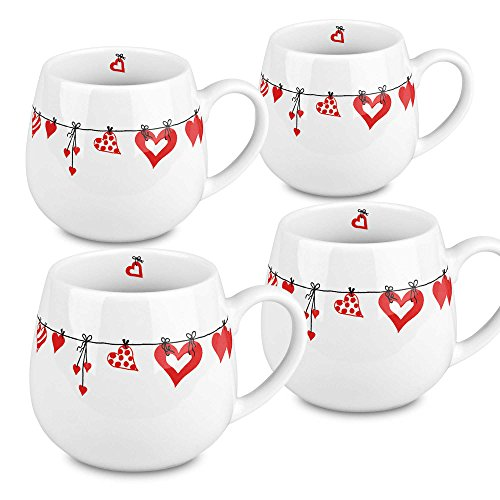 Konitz 4411431919 Hearts Clothes Snuggle Mugs, Set of 4, Multi
