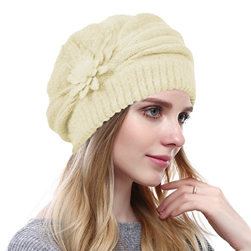(Women's Solid Knit Furry French Beret - Fall Winter Fleece Lined Paris Artist Cap Beanie Hat (Champagne))