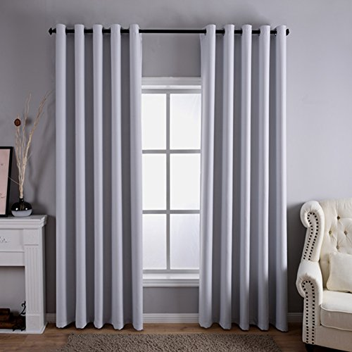 Dreaming Casa Solid Room Darkening Blackout Curtain Bedroom Draperies Greyish White Grommet Top Two Panels 100' W x 102' L