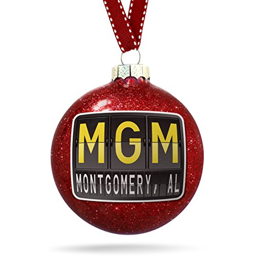 Christmas Decoration MGM Airport Code for Montgomery, AL - Glass Al Montgomery