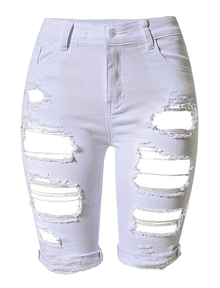 Fensajomon Womens Ripped Holes Bodycon Summer Plus Size Stretch Bermuda Denim Shorts Jeans