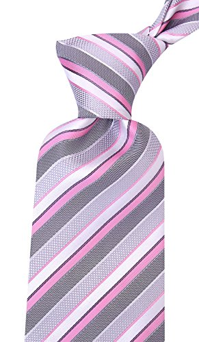 Striped Ties for Men - Woven Necktie - Pink by Scott Allan Collection (Image #4)