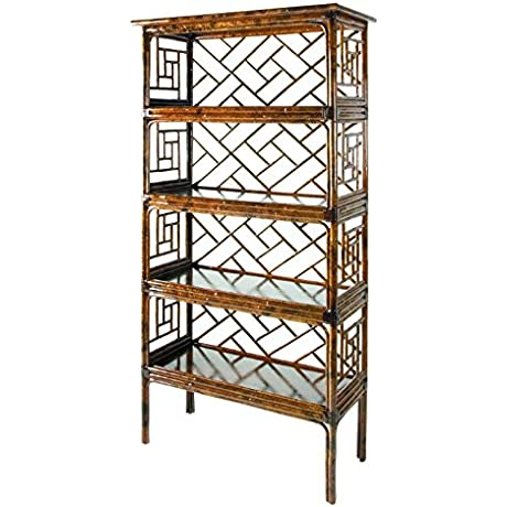 David Francis Furniture Chinese Chippendale Etagere Bookcase Tortoise