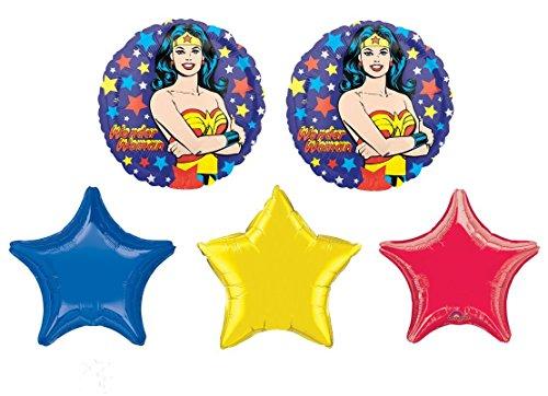 Wonder Woman Balloon Bouquet - 5 Foil Balloons