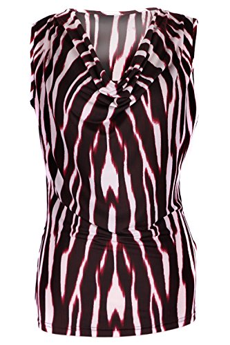 G2 Chic Women's Striped Two Tone Summer Jersey Sleeveless Top(TOP-CAS,RED-L)