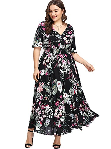 Romwe Women's Plus Size Floral Print Buttons Short Sleeve V Neck Flare Flowy Maxi Dress Black 3XL