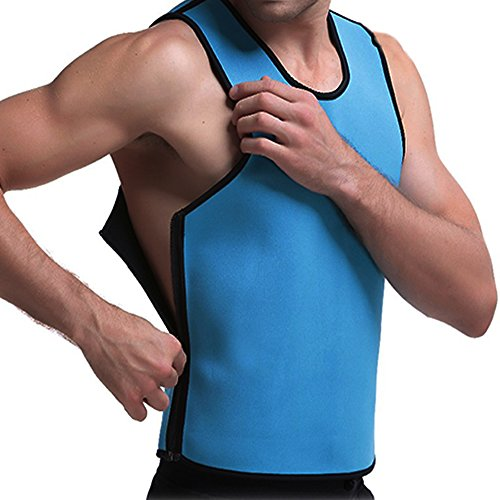 DODOING Mens Neoprene Vest Waist Trainer with Zipper Slimming Shirt for Weight Loss Workout