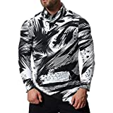 Men Printing Tee Male Long Sleeve T Shirt Oxford Formal Casual Suits Shirts Blouse Top by SanCanSn (White,2XL)