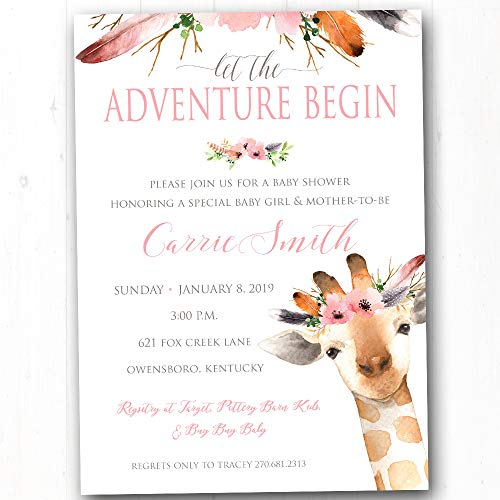 Giraffe Baby Shower Invites - Sip & See Baby Girl Invites - Pink Floral Baby Shower Invitations - Adventure Baby Sprinkle Party Invitations - Set of 20 Printed Invites with Envelopes