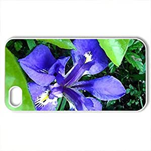 Bayou Purple Flower - Case Cover for iPhone 4 and 4s (Flowers Series, Watercolor style, White)