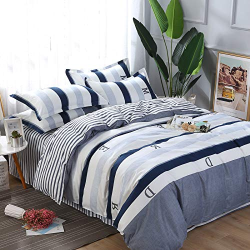 Double Reversible Striped Bedding Sets 4 Piece 100/% Cotton King Queen Full Duvet Cover Sets Printed Pattern Perfect for College Dormitory Single 3 Piece-White-Full