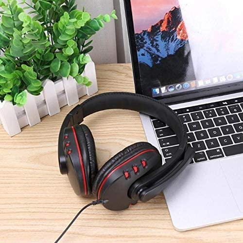 DP-iot Luxury Leather Gaming Stereo 3.5mm Wired Headset Headphone Over-Ear Earphone with Microphone for PS4 Game
