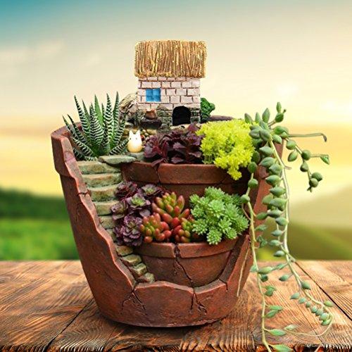 SQingYu Sky Garden Resin Succulent Plant Flower Pot, Micro Landscape House Herb Flower Basket Planter Pot Bonsai DIY ()