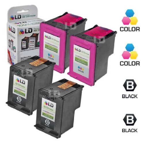 LD Remanufactured Ink Cartridge Replacements for HP 60 (2 Black, 2 Color, - Ink Ribbon Cartridges Inkjet
