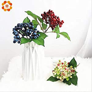 ShineBear 1PC Artificial Blueberry Plants Flower Bud Silk Flowers Fruits Decorative Wreath Fruit Berry for Wedding Home Party Decoration 73