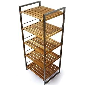 Estanter a para ba o 5 estantes bamb 40x32x96cm amazon for Estanteria bano amazon