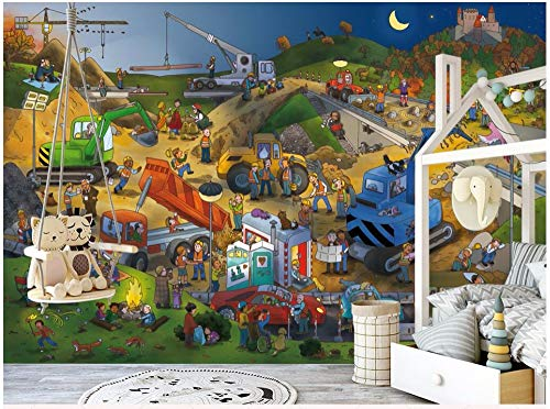 MBWLKJ 3D Wallpaper Modern Cartoon Construction Site Worker Children Room Home Decor 3D Wall Murals Wallpaper for Wall 3 D-150cmx100cm