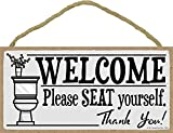 bathroom wall hangings Honey Dew Gifts Welcome Please Seat Yourself - 5 x 10 inch Hanging, Wall Art, Decorative Wood Sign Home Bathroom Decor