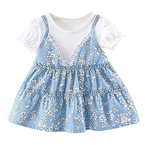 Tantisy ♣↭♣ Baby Girl Dresses  Toddler Kids Patchwork Floral Skirt Casual Short Sleeve Princess Dresses Pleated Dress Blue