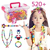 Conleke Pop Snap Beads Set 520 PCS for Kids Toddlers Creative DIY Jewelry