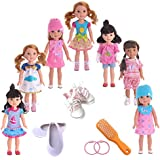ZWSISU 7PCS doll Clothes and 2pcs shoes 2pcs Hairpin&comb fits 14 inch 14.5inch doll American Girl Wellie Wishers dolls