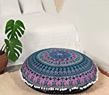 Popular Handicrafts Large Blue Hippie Elephant Mandala Floor Pillow-Cushion-Pouf Cover Round Bohemian Yoga Decor Floor Cushion Case- 32'' Blue Pink