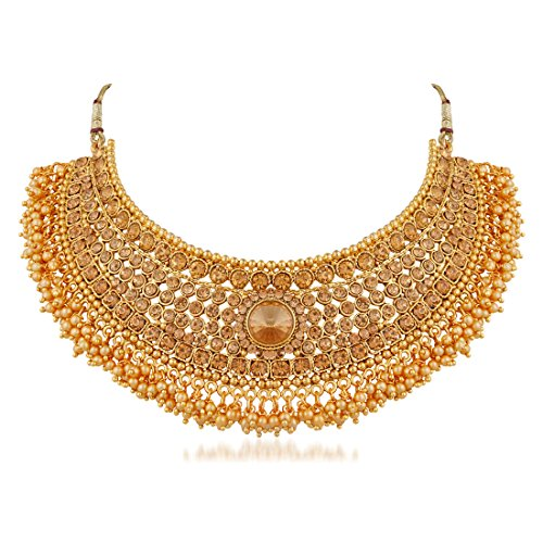 Apara Bridal Pearl Lct Stones Gold Necklace Set Jewellery
