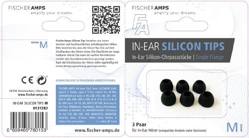 Fischer Amps Accessoires and Spare Parts Silcone Eartips FA Earphones, M, (960-00308)