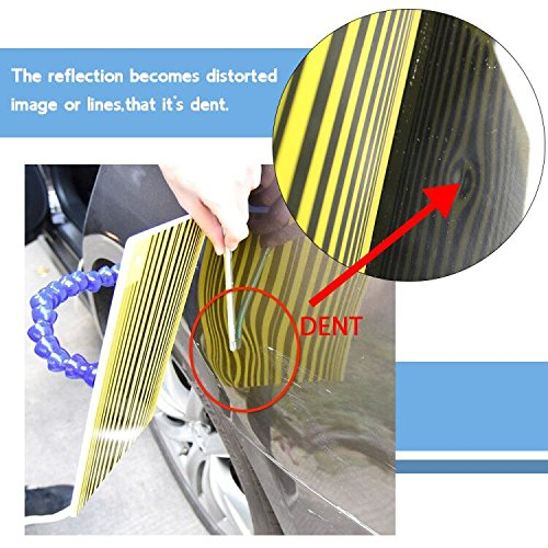 JMgist PDR Tools Reflector Line Board Paintless Dent Repair Tools with Adjustable Holder for Car body dent removal Yellow Stripe Testing Tool by JMgist (Image #6)