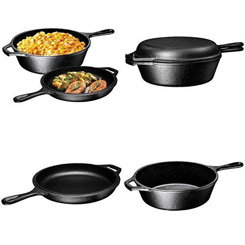 GOOD MEDIA Cast Iron Dutch Oven Pre-Seasoned Combo Cooker Deep Skillet Lid 3-Quart New ✅ (Combo Cast Cooker Seasoned Iron)