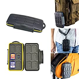 JJC MC-SD12 Water Resistant Holder Storage Memory Card Case fits 12 SD Cards 7 Tough water-resistant polycarbonate case for carrying memory cards Each slot is strictly tailored to fit the card perfectly Two sides both allow you store memory cards