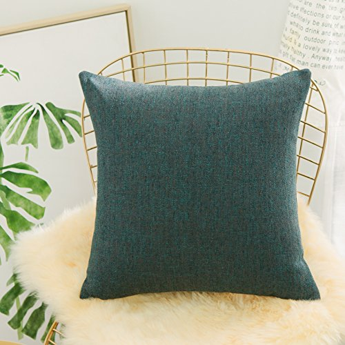 Italian Leather Match Loveseat (Home Brilliant Super Soft Plush Linen Chenille Blend Textured Large Throw Euro Pillow Sham Cushion Cover with Zipper, 26 x 26(66cm), Emerald)