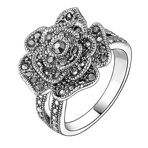 Yfnfxl Vintage Fashion Ring Silver Marcasite Flower Crystal Cocktail Statement Rings for Women (Black2, ()